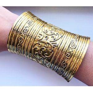 Vintage long gold ornate cuff bracelet